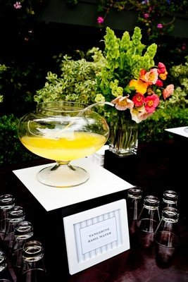 Tangerine Basil Water at summer wedding reception