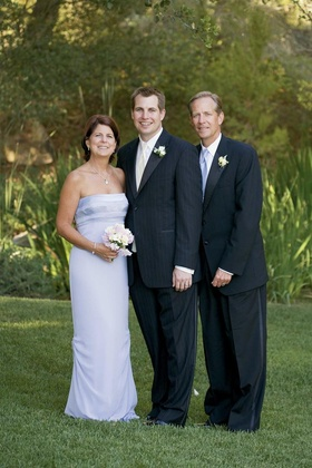 Lilac mother-of-the-groom dress and father