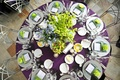 Bird's-eye view of reception table and centerpieces