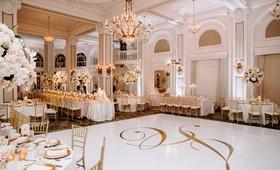 wedding reception ballroom white gold dance floor chandelier tall centerpiece white pink flowers