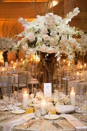 Indoor wedding reception with tree branch centerpiece