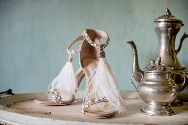 Wedding shoes white feathers sparkly sandals heels bridal shoes wedding heels