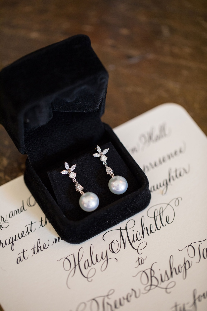 wedding invitation calligraphy black velvet ring box pearl drop diamond earrings for bride