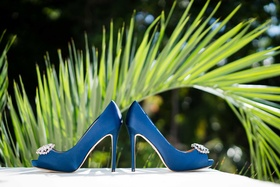 Peep toe wedding shoes badgley mischka bridal heels rhinestone bright blue color something blue