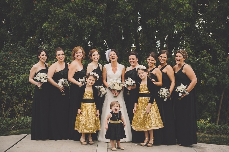 Flower girls and bridesmaids in wedding attire
