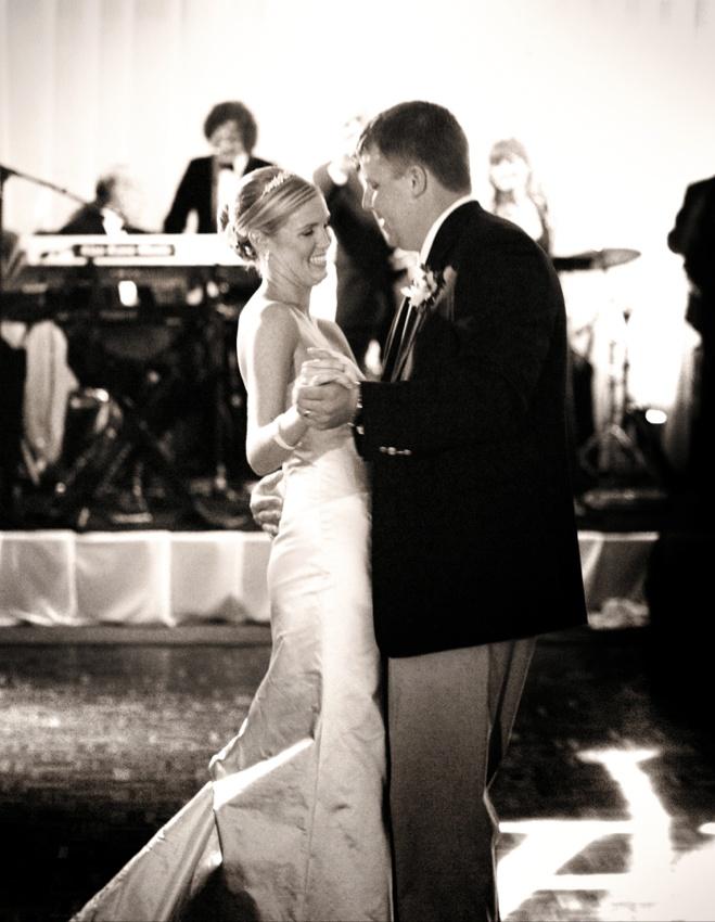 newlyweds dance at reception