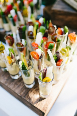 wedding ceremony snack crudite shooters with celery carrots jicama tomatoes zucchini shot glasses