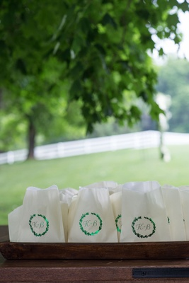 Wedding favor bags white with green shiny foil monogram leaf wreath initials