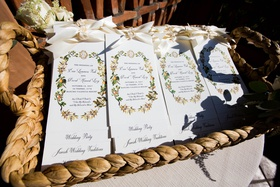 wedding ceremony program ivory ribbon pretty motif baskets pretty calligraphy
