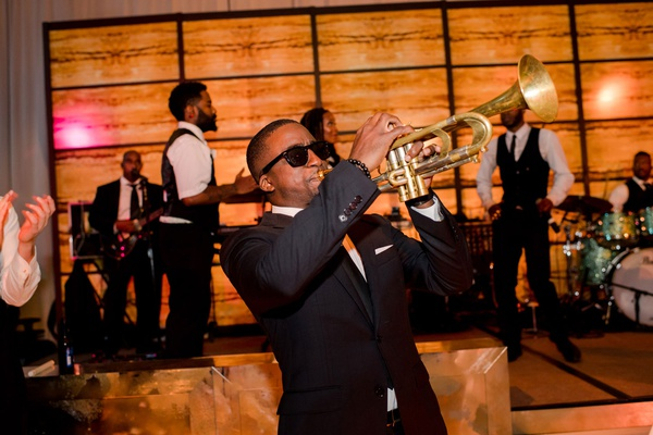 live band wedding reception entertainment trumpet player in sunglasses