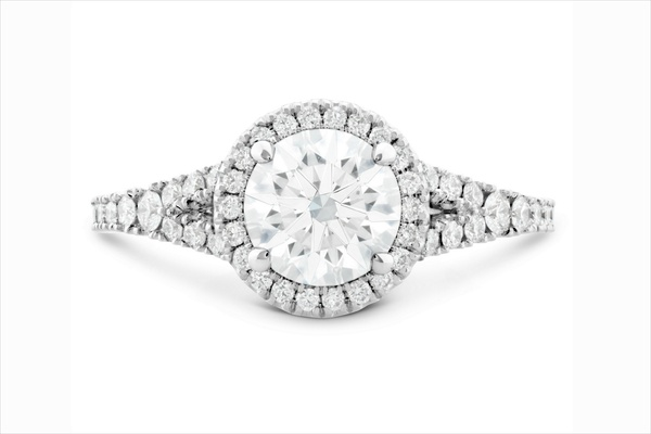 Hearts On Fire halo diamond engagement ring with split shank diamond band