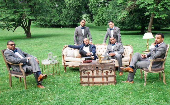 groom in Ralph Lauren brocade blazer, groomsmen in macy's suits, outdoor lounge area