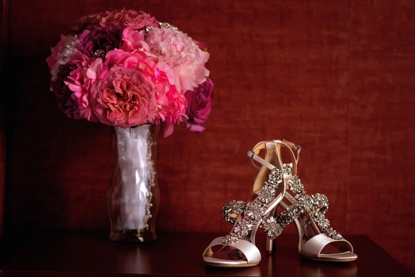 badgley mischka sandals with crystal details open toe bright pink fuchsia bouquet