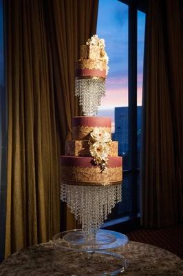 hanging crystals, burgundy cake, sugar flower decorated cake