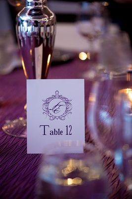 purple printed table numbers with monogram