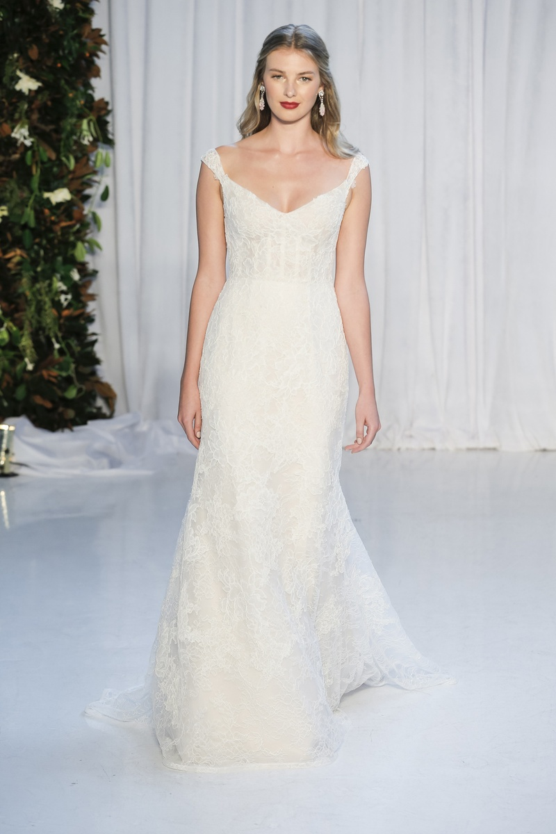 Wedding dresses photos zara by anne barge inside weddings anne barge fall 2018 corset bodice wide v neck and petite cap sleeves chantilly and ombrellifo Images