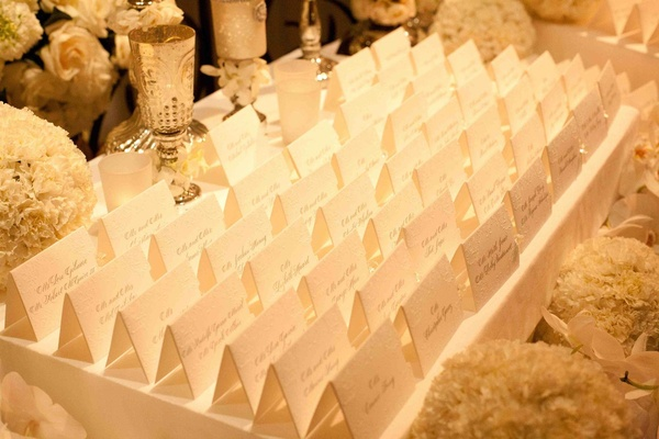 Escort cards with embossed details and calligraphy