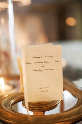 New York City wedding program on ivory paper