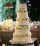 white cake with pink trim and green flowers between each tier