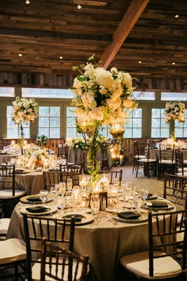 rod iron candelabra centerpieces hydrangea roses lisianthus veronica dahlias Queen Anne's lace