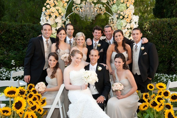 Bridesmaids and groomsmen at ceremony site