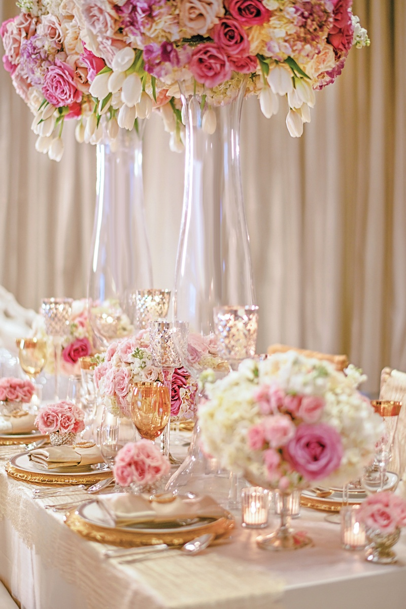 Reception Décor Photos - Gold, Pink & White Tablescape - Inside Weddings