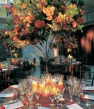 Centerpiece of fall color flowers and foliage