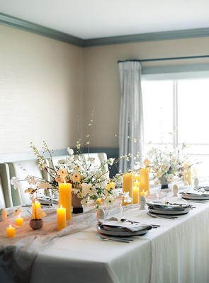 bridal shower soft blue and grey color scheme, yellow pillar candles
