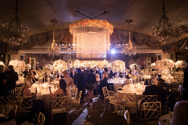 wedding reception at the pierre in new york flower chandelier chandeliers guests at tables reception