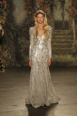 """long sleeved mermaid """"hippolyth"""" dress with silver beading by jenny packham"""