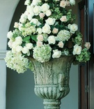 Roses and hydrangeas in stone urn vessel