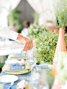 bridal shower boho chic greenery summer event peach vase blue menu lime green napkin batik linens
