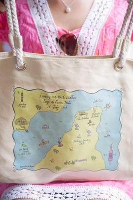 Laura Hooper Calligraphy map on welcome bag