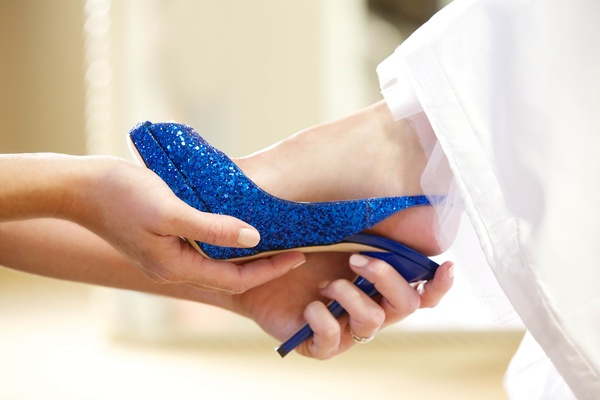 Peep-toe slingback wedding shoes with blue glitter