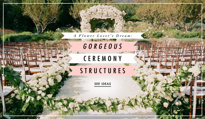 Wedding flowers for ceremony arches, structures, and chuppahs