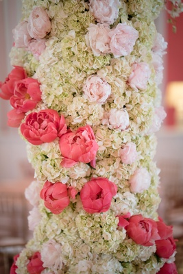 grand floral fixture focal point pink ivory hydrangea peonies winding southern wedding detail