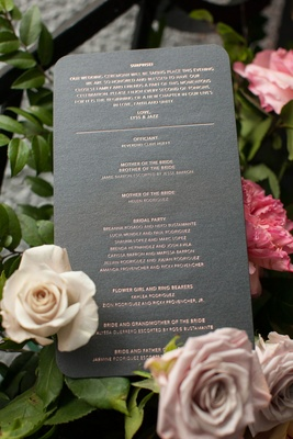 Grey round corner ceremony program with officiant bridal party flower girl ring bearer surprise note