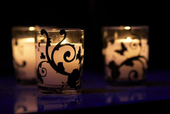 glass votives with black vine pattern
