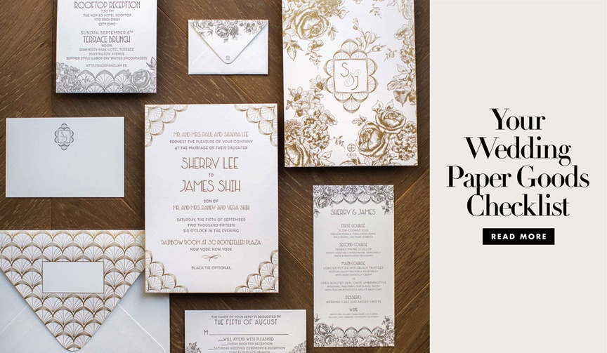 Your wedding paper goods checklist for pre wedding post wedding and nuptial events