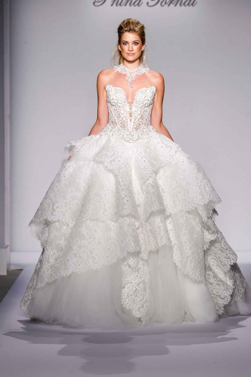 Pnina Tornai for Kleinfeld 2016 lace ball gown wedding dress