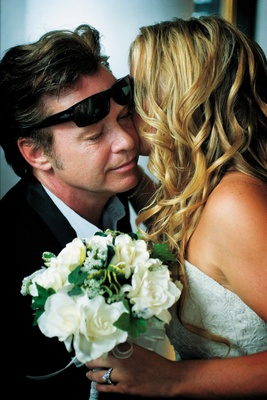 bride teddi mellencamp kisses father john mellencamp