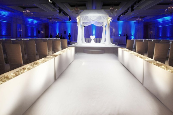All White Indoor Wedding Ceremony Site: Timeless Black & White Wedding In Chicago, Illinois