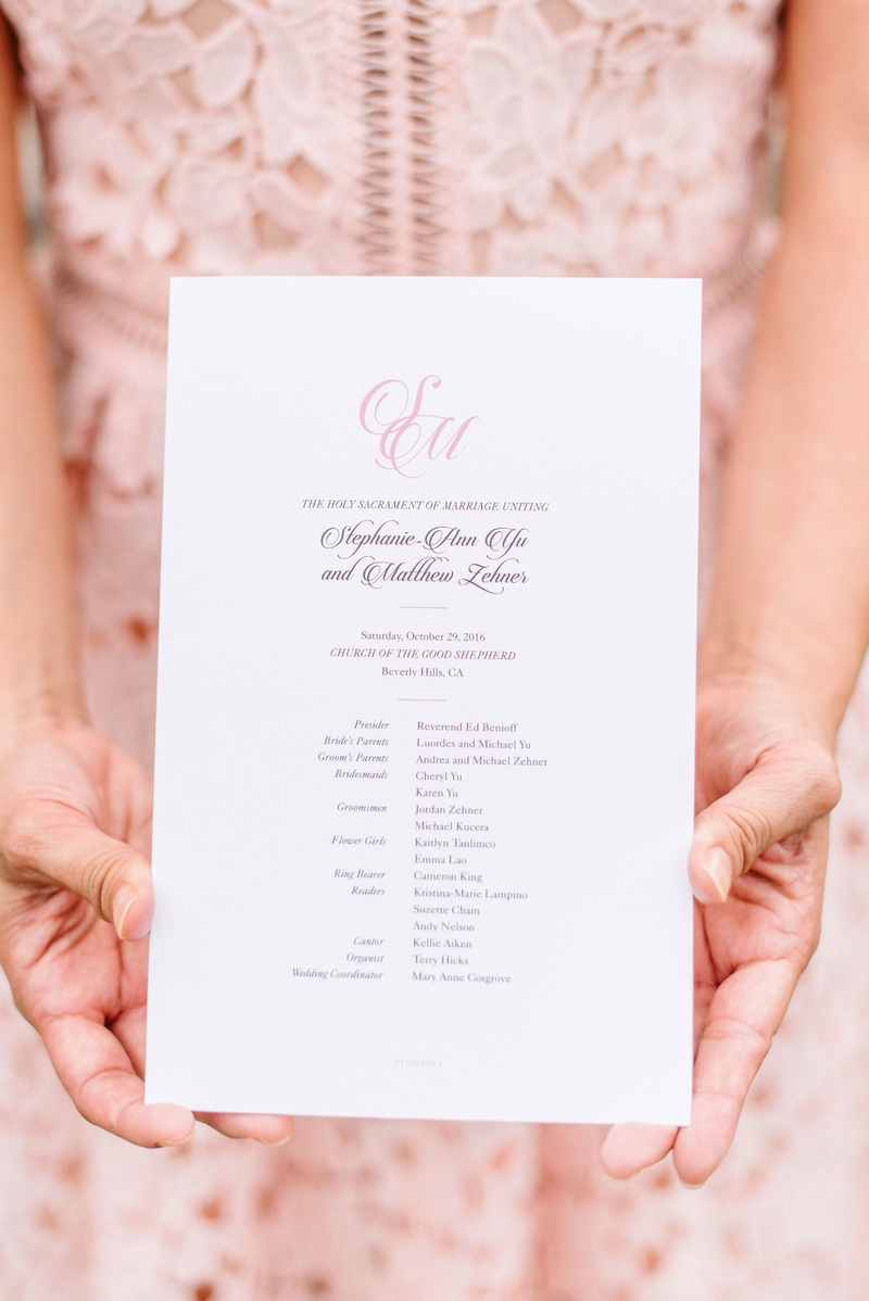 wedding ceremony program simple pink monogram script with list of attendants bridal party