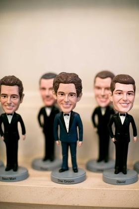 Groomsmen gifts bobblehead figurines in tuxedos with names