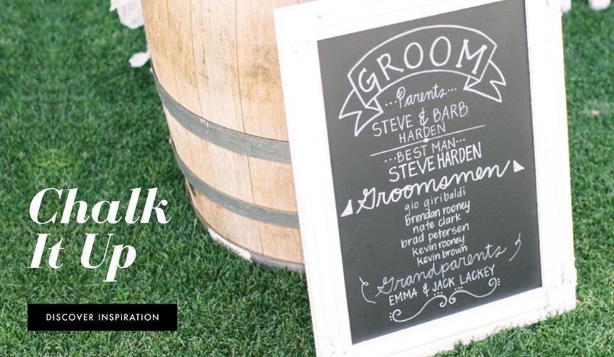 Chalkboard wedding signs for rustic weddings