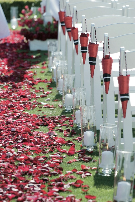 Grassy aisle with red rose petals and petal cones on ceremony chairs