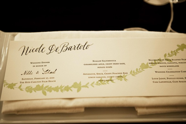 Hot dog style wedding menu card with green leaf design