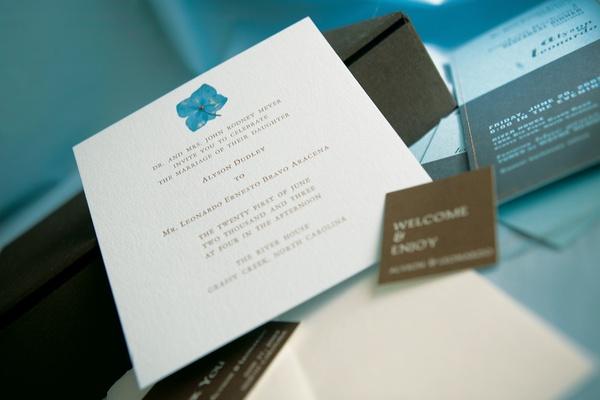 Wedding invitation with hydrangea motif