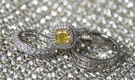 wedding engagement ring yellow diamond with double halo setting wedding rings