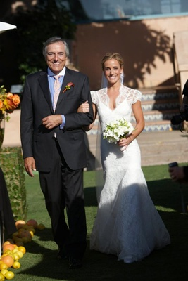 Father of the bride walks daughter down aisle